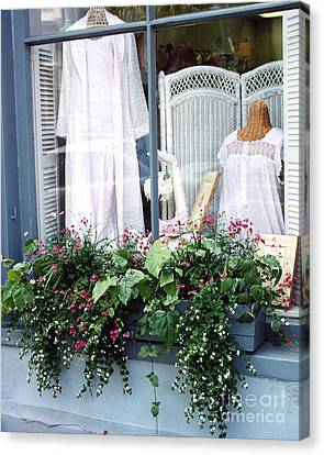 Charleston Window Boxes - Charleston Flowers Window Box And Lingerie Shop  Canvas Print by Kathy Fornal