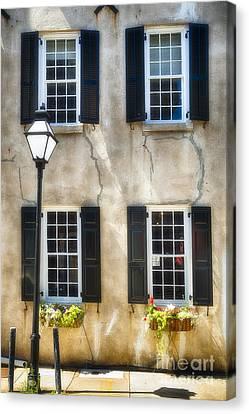 Charleston Windows And Lamp Post  Canvas Print