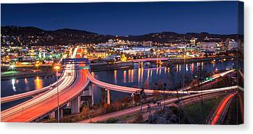 Charleston Wv At Night Canvas Print by Mary Almond