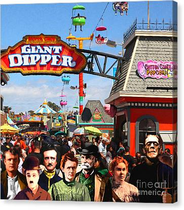 Charlie And Friends Cannot Decide Between The Giant Dipper The Sky Gliders Or The Side Shows Sq V1 Canvas Print by Wingsdomain Art and Photography