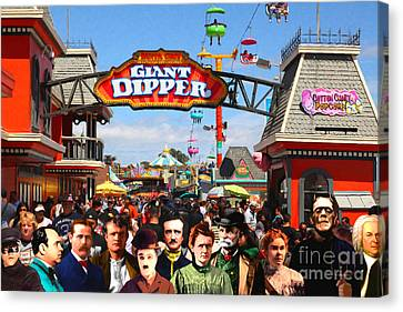 Charlie And Friends Cannot Decide Between The Giant Dipper The Sky Gliders Or The Side Shows Canvas Print by Wingsdomain Art and Photography