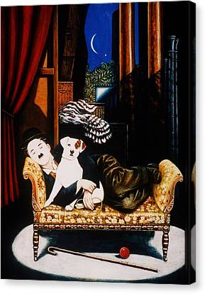 Charlie Chaplin And Scraps, 1992 Oils And Tempera On Panel Canvas Print by Frances Broomfield