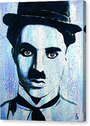 Canvas Print featuring the painting Charlie Chaplin Little Tramp Portrait by Bob Baker