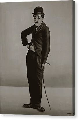 Charlie Chaplin Painting Canvas Print by Paul Meijering