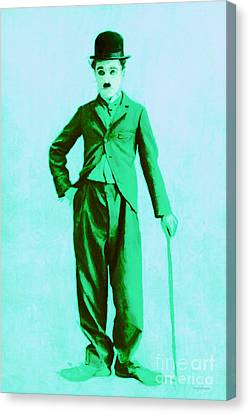Charlie Chaplin The Tramp 20130216m150 Canvas Print by Wingsdomain Art and Photography