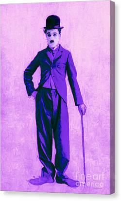 Charlie Chaplin The Tramp 20130216m40 Canvas Print by Wingsdomain Art and Photography