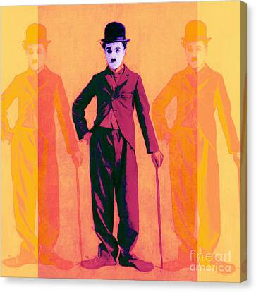 Charlie Chaplin The Tramp Three 20130216 Canvas Print by Wingsdomain Art and Photography