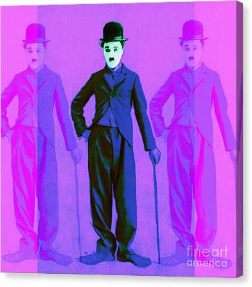 Charlie Chaplin The Tramp Three 20130216m108 Canvas Print by Wingsdomain Art and Photography
