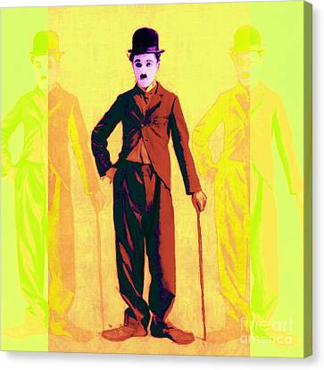 Charlie Chaplin The Tramp Three 20130216p30 Canvas Print by Wingsdomain Art and Photography