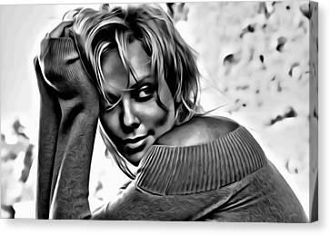 Charlize Theron Portrait Canvas Print by Florian Rodarte