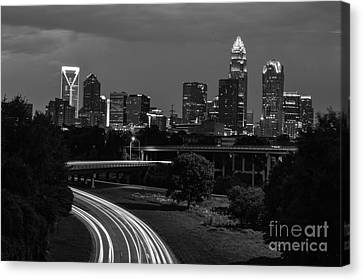Charlotte Black And White Skyline Canvas Print by Robert Loe