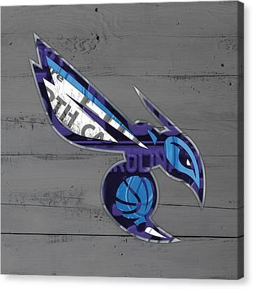 Charlotte Hornets Basketball Team Logo Vintage Recycled North Carolina License Plate Art Canvas Print by Design Turnpike