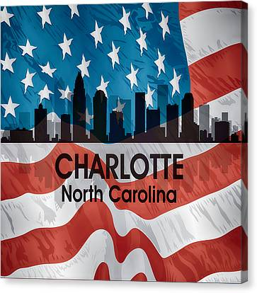 Charlotte Nc American Flag Squared Canvas Print by Angelina Vick