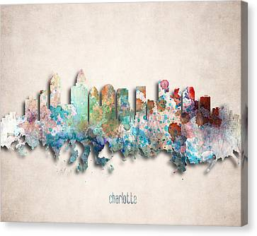 Charlotte Painted City Skyline Canvas Print by World Art Prints And Designs
