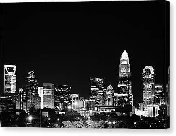 Charlotte Skyline At Night Black And White Canvas Print by Fred Koehl