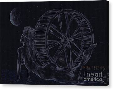 Canvas Print featuring the drawing Charm Of The Moon. by Kenneth Clarke