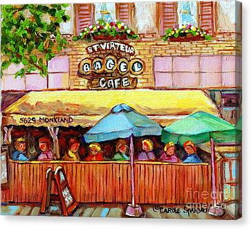 St.viateur Bagel Canvas Print - Charming French Cafe Scenes St Viateur Bagel Monkland Bistro Streets Montreal Paintings C Spandau by Carole Spandau