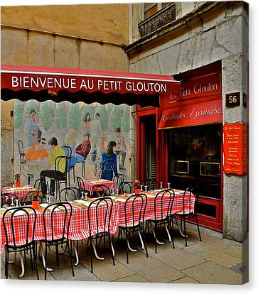 Charming French Outdoor Cafe Canvas Print by Kirsten Giving