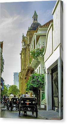 Cartagena Canvas Print - Charming Horse-drawn Carriages Take by Jerry Ginsberg