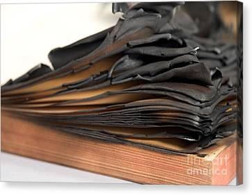 Charred Book Pages Canvas Print by Oote Boe