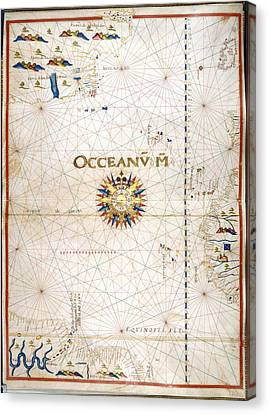 Chart Of The Atlantic Ocean Canvas Print by British Library