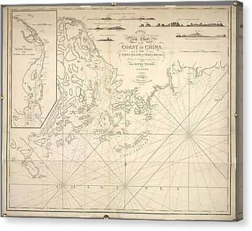 Chart Of The Coast Of China Canvas Print by British Library