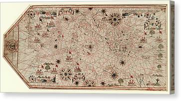Chart Of The Mediterranean Canvas Print by Library Of Congress, Geography And Map Division