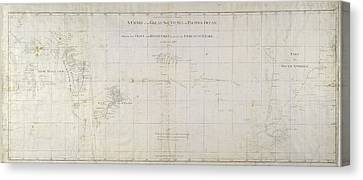 Chart Of The South Pacific Ocean Canvas Print