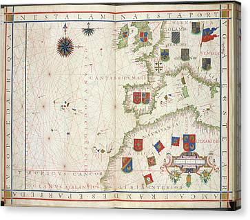 Chart Of Western Europe Canvas Print