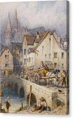 Horse And Cart Canvas Print - Charters by Myles Birket Foster