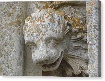 Canvas Print featuring the photograph Chartres Cathedral Carved Head by Deborah Smolinske