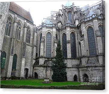 Canvas Print featuring the photograph Chartres Cathedral by Deborah Smolinske