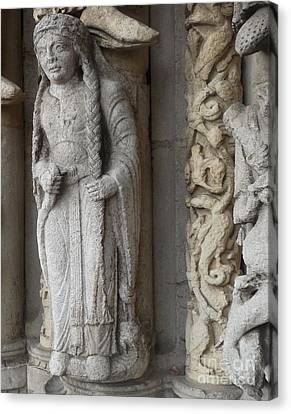 Canvas Print featuring the photograph Chartres Cathedral Female Pilgrim by Deborah Smolinske