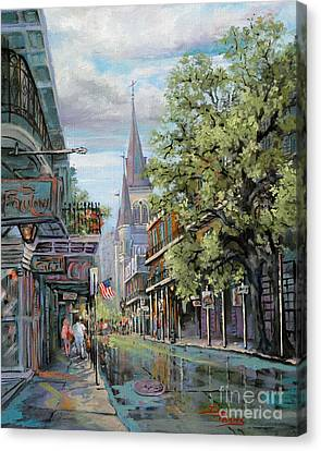 St.louis Cathedral Canvas Print - Chartres Rain by Dianne Parks