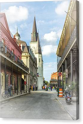 Wrought Iron Bicycle Canvas Print - Chartres St In The French Quarter 2 by Steve Harrington