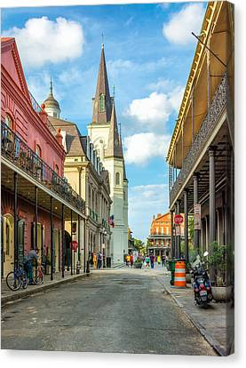 Wrought Iron Bicycle Canvas Print - Chartres St In The French Quarter  by Steve Harrington