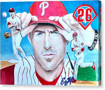 Chase Utley Canvas Print by Ezra Strayer