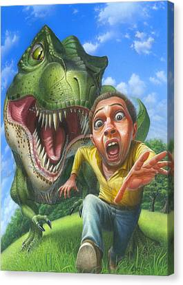 Chased By A Tyrannosaurus Rex Blank Greeting Card Canvas Print by Walt Curlee