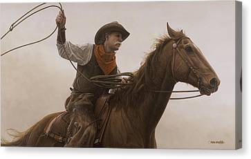 Canvas Print featuring the painting Chasin Em Down by Ron Crabb