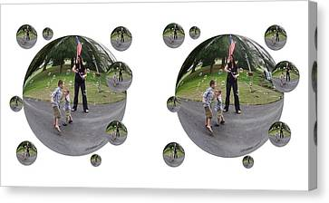 Chasing Bubbles - Cross Your Eyes And Focus On The Middle Image That Appears Canvas Print by Brian Wallace
