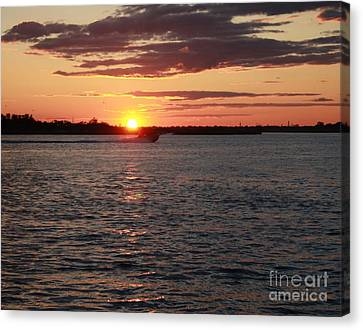 Boats In Water Canvas Print - Chasing The Freeport Sunset by John Telfer