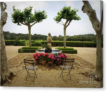 Chateau Malherbe Fountain Canvas Print by Lainie Wrightson