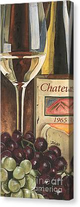 Wine Glasses Canvas Print - Chateux 1965 by Debbie DeWitt