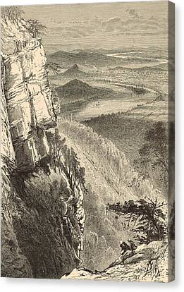 Chattanooga And The Tennessee From Lookout Mountain Canvas Print by Antique Engravings