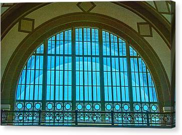 Canvas Print featuring the photograph Chattanooga Train Depot Stained Glass Window by Susan  McMenamin