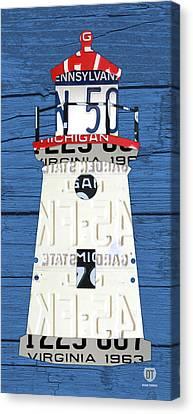 On Wood Canvas Print - Cheboygan Crib Lighthouse Michigan Vintage License Plate Art On Wood by Design Turnpike