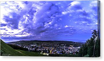 Checiny Town Blue Hour Panorama Canvas Print by Julis Simo