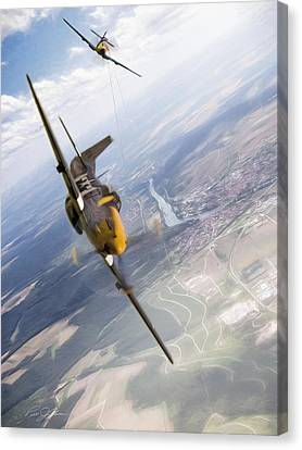 Vintage Air Planes Canvas Print - Check Six For Frankie by Peter Chilelli