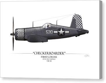 Checkerboarder F4u Corsair - White Background Canvas Print