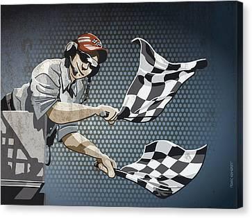 Checkered Flag Grunge Color Canvas Print